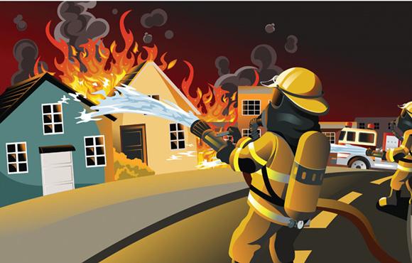 漫画:消防员参与救火(图片源自网络)-消防驱车20公里救猫是浪费