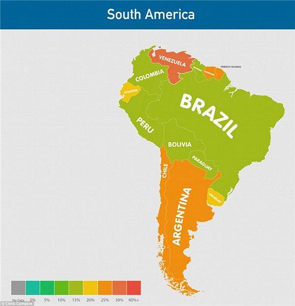 南美洲降水分布图-全球肥胖分布地图 你在哪  美国拥有33%的肥胖人口,澳大利亚为27%图片