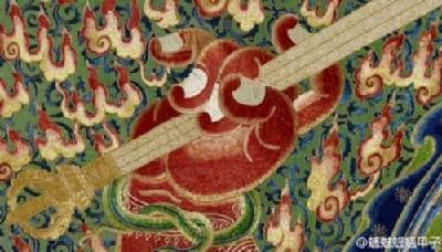 红色欧式刺绣壁画